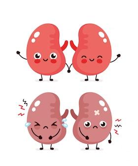 Trauriger leidender kranker niedlicher und gesunder glücklicher lächelnder nierencharakter. flache karikaturillustrationsikonenentwurf. auf weißem hintergrund isoliert. ungesundes weinen und glückliches nierencharakterkonzept