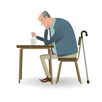 Trauriger senior mit dem stock, der auf einem sofa sitzt.