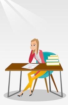 Trauriger student, der testpapier mit schlechter note betrachtet.