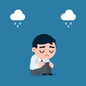 Trauriger und müder geschäftsmann mit der krise, die auf dem boden, karikaturvektorillustration sitzt.