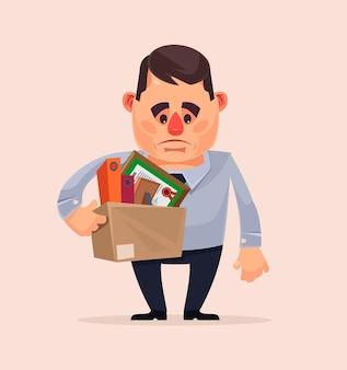 Trauriger unglücklicher büroangestelltercharakter, der vom job gefeuert wird. flache karikaturillustration des vektors