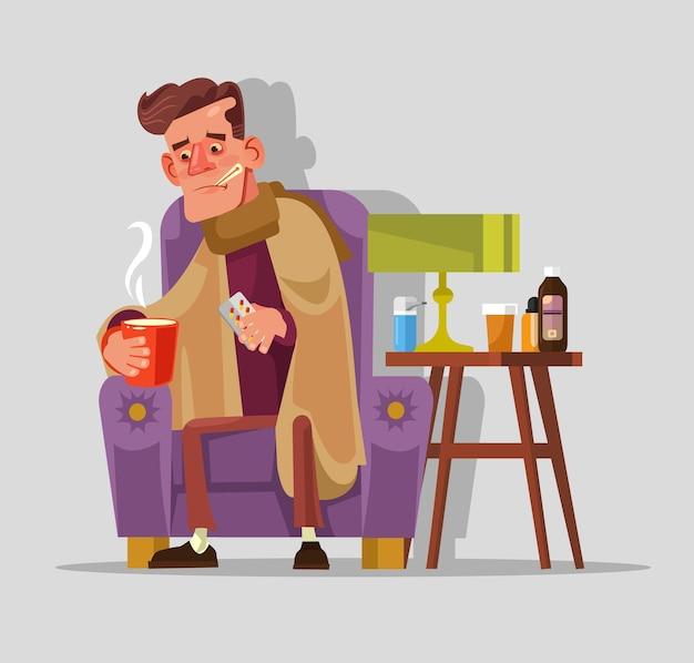 Trauriger unglücklicher fall böser kranker manncharakter mit grippe und kaltem fieber nimmt pillen und trinkt tee.