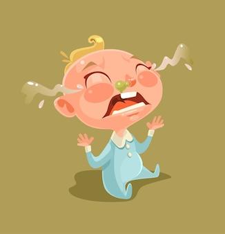 Trauriger unglücklicher frecher kleiner kindercharakter, der schreit und weint. flache karikaturillustration