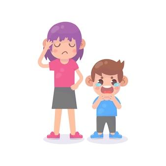 Trauriger weinender kleiner junge mit mutter