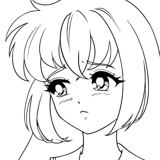 Trauriges anime-mädchen.