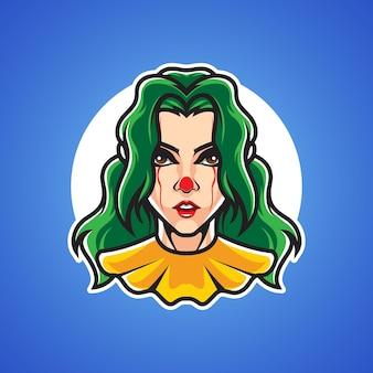 Trauriges clown-mädchenkopf-logo