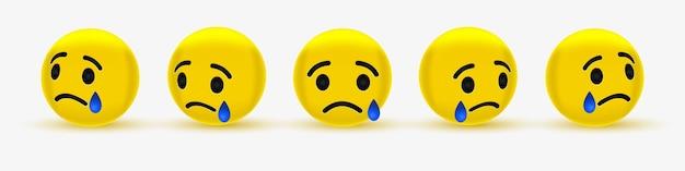 Trauriges emoticon mit träne oder weinendem emoji