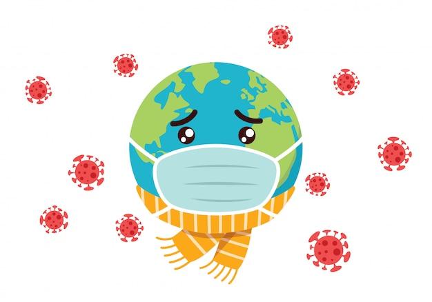 Trauriges erdkarikaturmaskottchen, das mit koronavirus infiziert ist