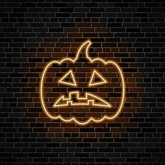 Trauriges kürbiskopf-neonlichtzeichen auf dunklem backsteinmauerhintergrund. illustration für halloween oder tag der toten