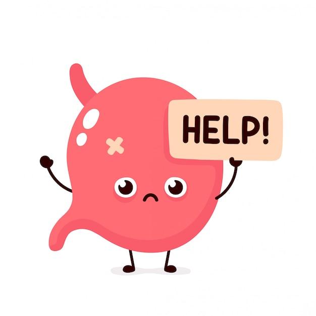 Trauriges leiden krankes niedliches menschliches magenorgan bittet um hilfecharakter. flache karikaturillustrationsikonenentwurf. auf weißem hintergrund isoliert. leiden ungesunde magen charakter konzept