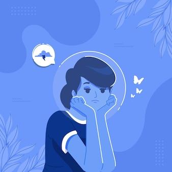 Trauriges mädchen auf blauer montag-konzeptillustration