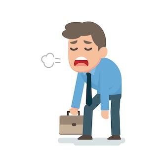 Trauriges müdes enttäuschtes konzept des geschäftsmannes, flache illustration des vektors