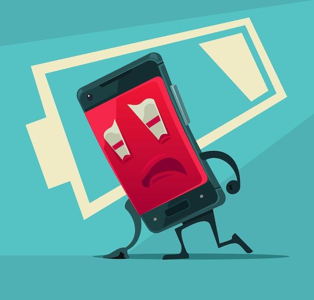 Trauriges unglückliches müdes smartphone mit flacher karikaturillustration der niedrigen batterieenergie