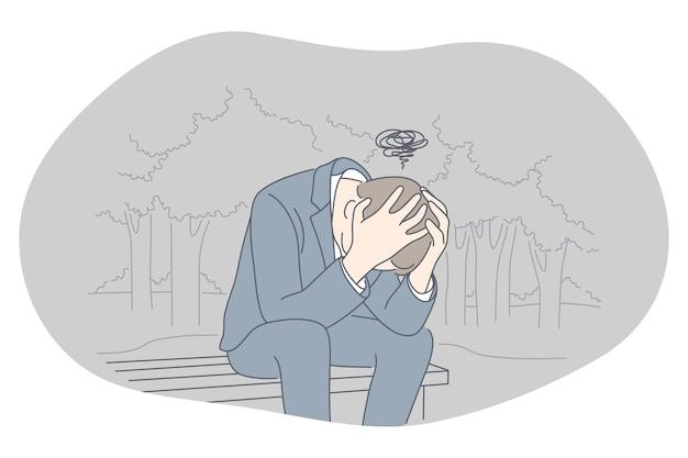 Traurigkeit, depressionen, schlechtes nachrichtenkonzept.