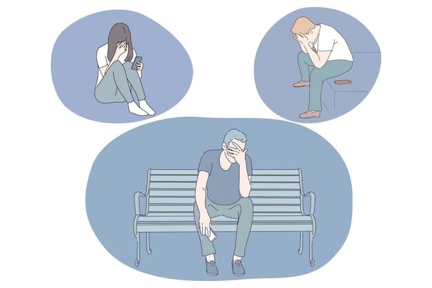 Traurigkeit, stress, einsamkeit, mentale depression, trauer, trennung, streitkonzept.
