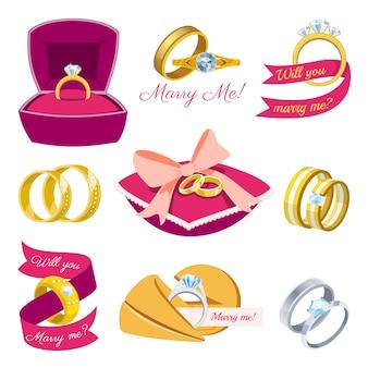 Trauringe verlobungssymbol gold silber schmuck für vorschlag ehe, heiraten sie mich braut illustration set isoliert auf weißem hintergrund