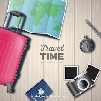Travel element sammlung mit realistischem stil
