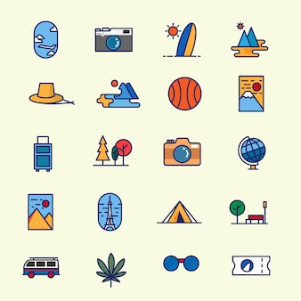 Travel icon pack-set von reisen isoelektrisches tourismus-symbol in vielen minimalistischen modernen stil