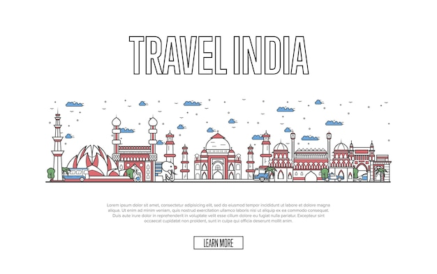 Travel india website im linearen stil
