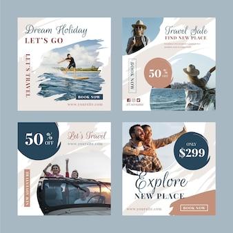 Travel instagram post collection mit pinselstrichen