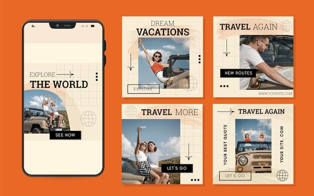 Travel instagram post pack mit pinselstrichen