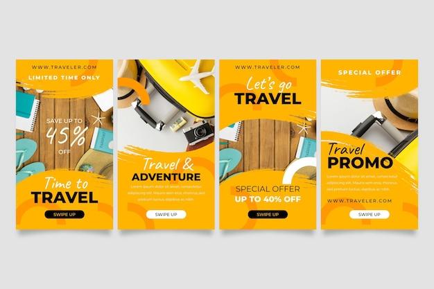 Travel instagram story collection mit pinselstrichen Kostenlosen Vektoren