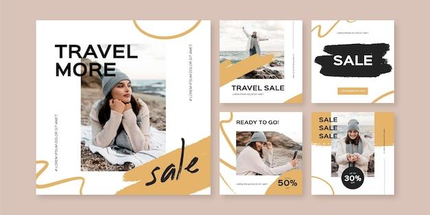 Travel instagram story pack mit pinselstrichen