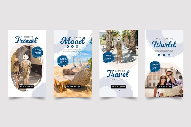 Travel instagram story pack mit pinselstrichen