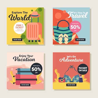 Travel sale instagram posts pack
