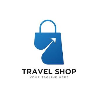 Travel shop logo vorlage Premium Vektoren