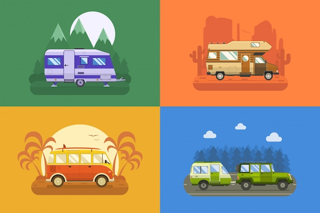 Traveller truck camping landschaft.