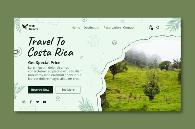 Travelling landing page template