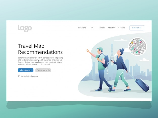 Travelling map illustration für landing page-vorlage