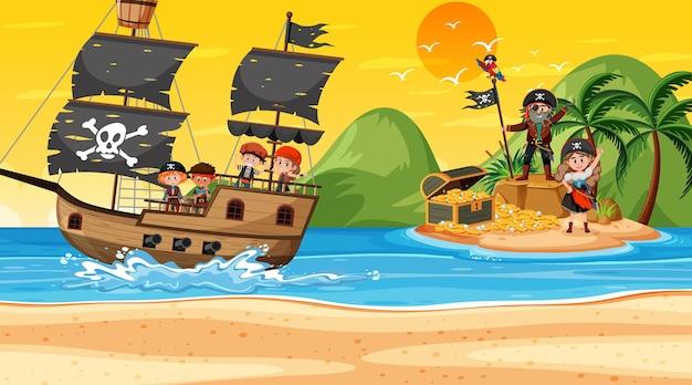 Treasure island-szene bei sonnenuntergang mit piratenkindern