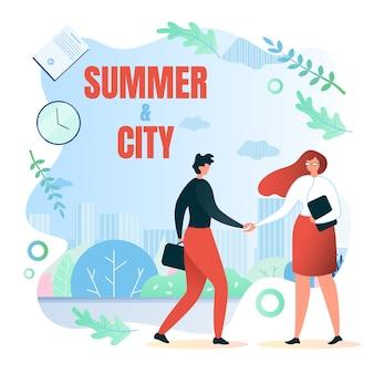 Treffen auf der straße, im schriftlichen sommer und in der stadtwohnung