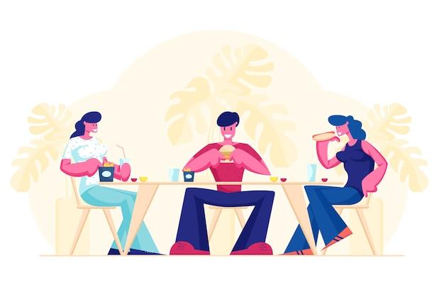Treffen der freunde im fastfood cafe oder in der bar. karikatur flache illustration