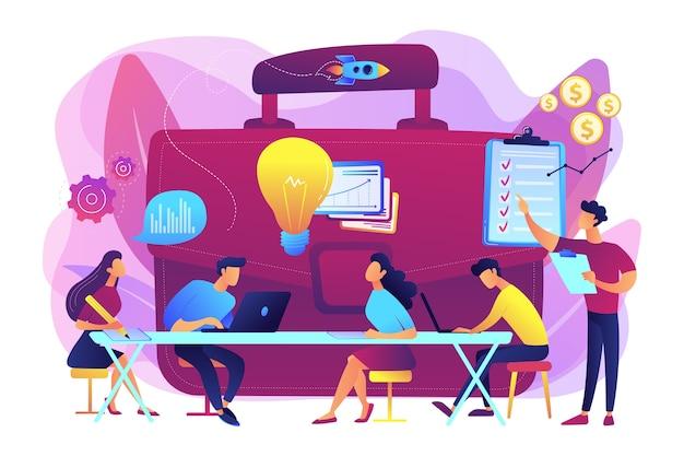 Treffen der kollegen. team brainstorming. unternehmenstraining. business briefing, diskussion über teamwork-aufgaben, kommunikationskonzept für geschäftsstrategien.
