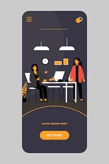 Treffen für tee oder kaffeepause auf der mobilen app