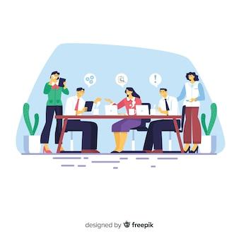 Treffen im bürohintergrund