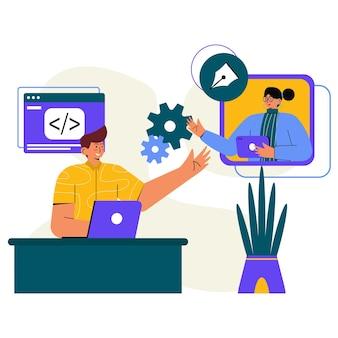 Treffen mit kunden flat illustration