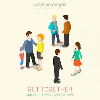 Treffen sie menschen, die sie lieben und verbringen sie freizeit paar familie und freunde isometrische illustrationen