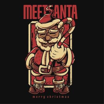 Treffen sie santa grayscale happy christmas cartoon illustration