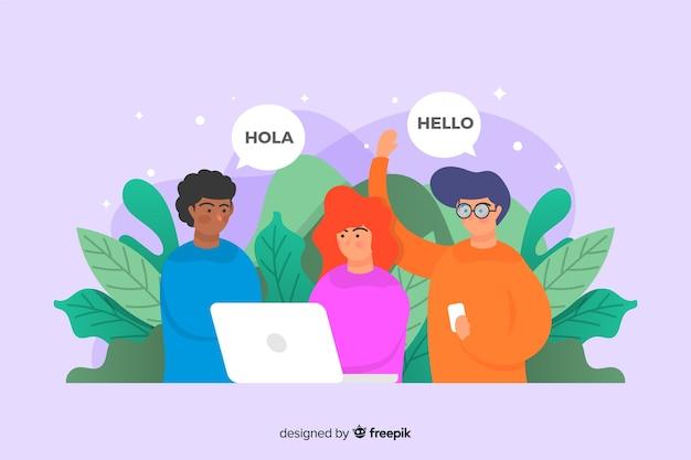 Treffen sie unser team landing page template flaches design