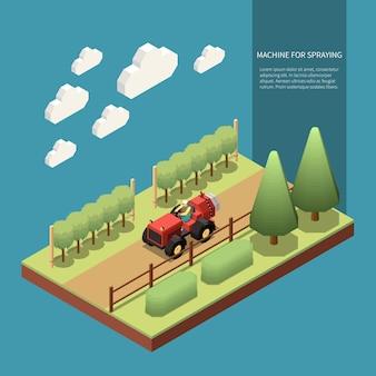 Treiberbetriebsmaschine zum besprühen von obstbäumen in isometrischer gartenzusammensetzung