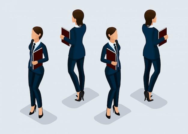 Trend isometric people set, geschäftsfrau 3d in anzügen, die gesten der menschen, eine vorderansicht und rückansicht