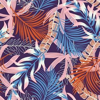 Trend nahtlose muster mit hellen tropischen blättern und pflanzen