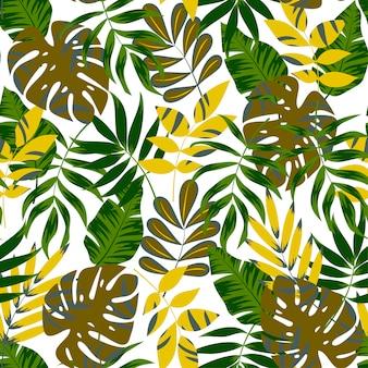 Trend nahtlose muster mit tropischen blättern