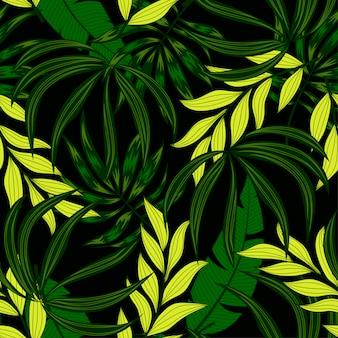 Trend nahtloses muster mit tropischen pflanzen