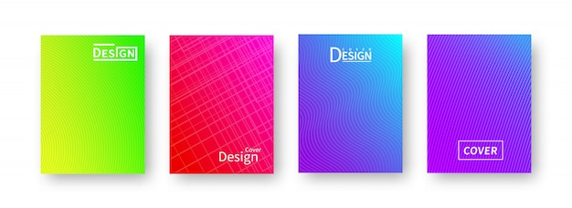 Trendige, abstrakte farbverlaufsabdeckungen mit fallendem schatten.
