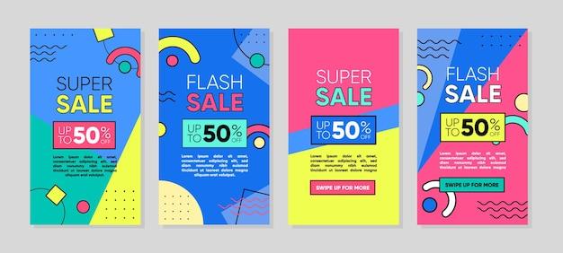 Trendige abstrakte geometrische vorlage für instagram- und facebook-geschichten mit farbenfrohem geometrischem stil